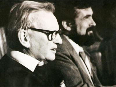 Kompozytor Dawid Gow (Wielka Brytania) i K. Wileński na Pierwszym Międzynarodowym Festiwalu Muzycznym w Kijowie, 1990
